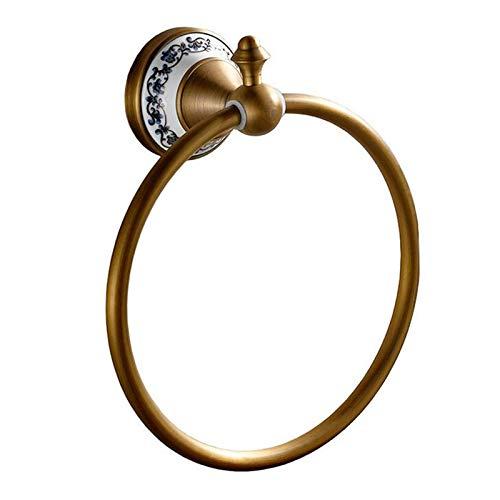 Julymoda Toallero retro de bronce con anillo de latón para toallas, ganchos de baño, ganchos de cobre antiguo, accesorios de baño