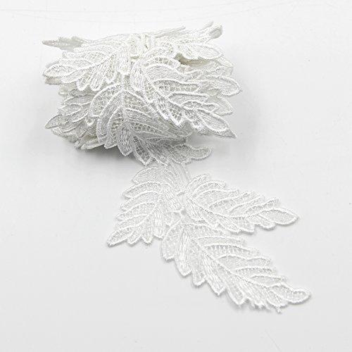 David Cartier 2016 Elegant 6 Yards Leaves Design Lace Applique Ribbon Trim Flower Embroidery Applique Sewing Craft Wedding Bridal