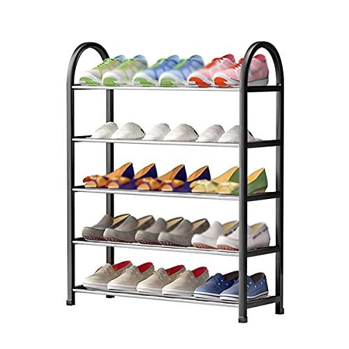 Almacenamiento de zapatos Zapato Rack de 5 capas Estante de pie Zapato de zapatos Organizador Metal Calzado fijo Almacenamiento Rack Sala de estar Dormitorio Corredor Zapato Organizador Rack Zapatero