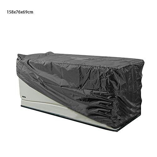 Rich-home Couvertures de Meubles de Jardin, Coffres de terrasse rectangulaires, Couvertures de Table en rotin Oxford en Tissu imperméable, Résistant aux UV et à l'eau, Anti-Fade, Noir, 158x76x69cm