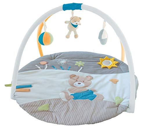 Bieco Krabbeldecke mit Spielbogen für Babys, Bär Anton | ∅ ca. 90 cm | süße Mobile Spieldecke Baby | Activity Center Baby Gym | Spielmatte Baby | Spielteppich Mädchen & Junge | Erlebnisdecke