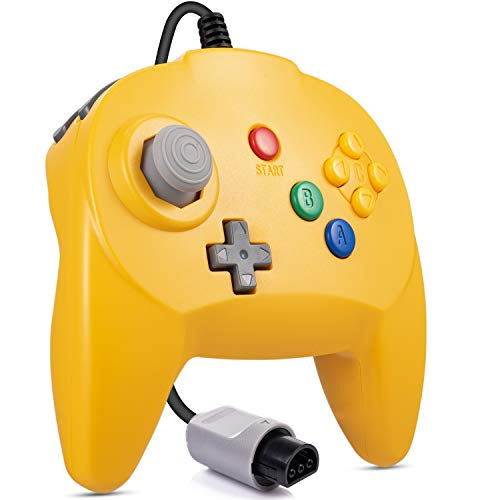 LUXMO Retro Mini N64 Wired standrd game controller for the Nintendo 64-bit video game console Gamepad Joystick design Replacement for N64 Classic Controller Yellow