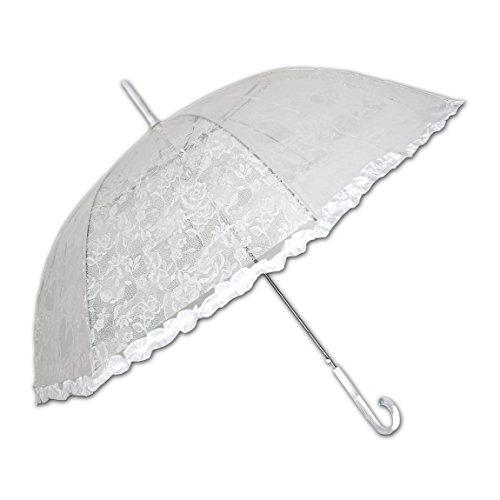 Ombrello di pioggia bianco gotico in merletto e lacca