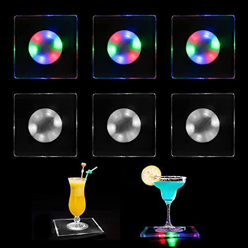 Sottobicchiere a LED con illuminazione a LED, colorato e bianco, per illuminazione a tunnel, per birra, vino, bicchiere per bevande, per casa, per feste, matrimoni (6 pezzi)