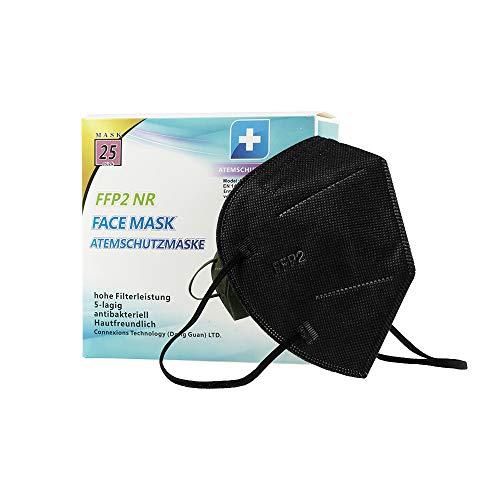 Media Sanex 25 Stück Atemschutzmaske FFP2 Mundschutz Maske perfekt für Mund- und Nasenschutz Schutzmaske Atemschutzmaske 5-lagig einzeln verpackt verschiedene Farben (Black)