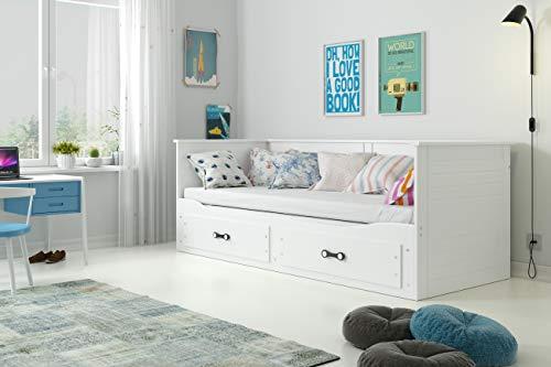 Interbeds Lit Simple 2 Places Hermes 80x200 avec Matelas sommier et tiroirs en Blanc ou Gris (Blanc)