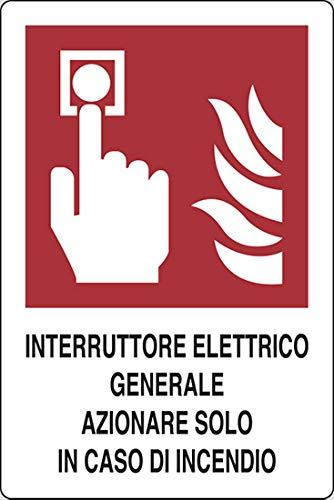PIXLEMON Cartello Alluminio cm 31x25 Interruttore Elettrico Generale AZIONARE Solo in Caso di Incendio