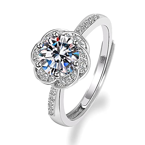 NIUBKLAS Compromiso de Boda romántica Diamante Zirconia cúbica Regalo de Lujo de Moda Anillo Ajustable de Flor de Ciruelo