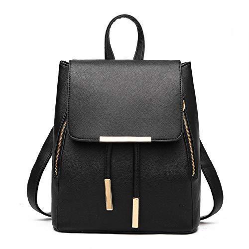 BeniMochila nueva moda casual mujer estudiante mochila bolso de hombro-negro
