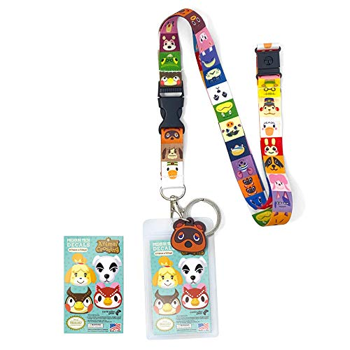 "Authentic & Official Nintendo Animal Crossing Lanyard Premium 35"" Breakaway Lanyard w Removable Keychain ID Holder 1.5"" Tom Nook Rubber Charm & Free Collectible Vinyl Decals"