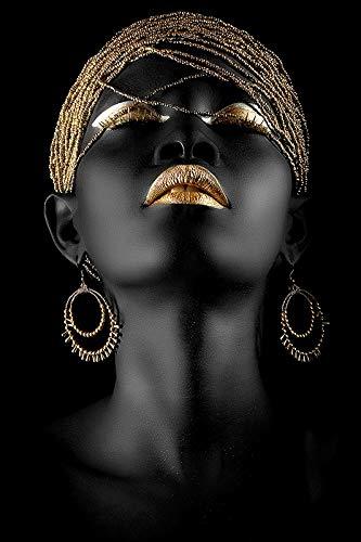 WENYOG Cuadro En Lienzo Moderno Arte Lienzo Painting African Black Mujer Pósteres...