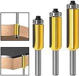 8 mm Tige Fraise à Bois avec 4 Lames, 3pcs Ensemble de bits de routeur de modèle de motif de finition Embout de garniture affleurante à queue