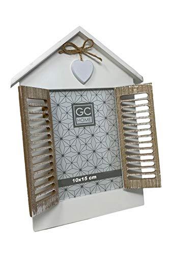 Vetrineinrete® Cornice porta foto da tavolo a finestra con doppia anta richiudibile casa con cuore stile shabby chic (10x15 cm) M31