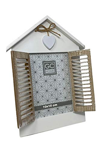 Vetrineinrete Cornice porta foto da tavolo a finestra con doppia anta richiudibile casa con cuore stile shabby chic (10x15 cm) M31