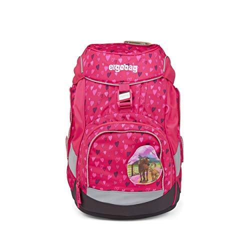 Preisvergleich Produktbild ergobag pack Set - ergonomischer Schulrucksack,  Set 6-teilig - HufBäreisen - Pink