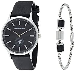 Case height: 8 mm; case size: 43 mm Strap width: 22 mm; strap circumference: 200 +/- 5 mm Strap material: stainless steel Water resistance: 5 ATM Packaged in Emporio Armani gift box
