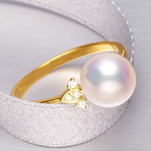 WTPUNGB 8 mm bis 8,5 mm weiße Akoya-Perle Einfache Verlobung 18 Karat Solid Gold Ring 6,5 weiße Akoya-Perle