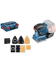 Bosch Professional 18V System Accuvlakschuurmachine GSS 18V-10 (pendel-Ø: 1,6 mm, 3 voetplaten met verschillende afmetingen, zonder accu's en lader, in L-BOXX), Blauw