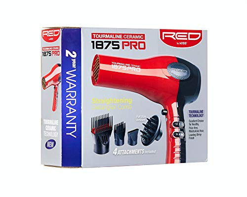 Red by Kiss 1875 Pro Watt Ceramic Tourmaline Hair Dryer with 4 Additional Styling Attachments