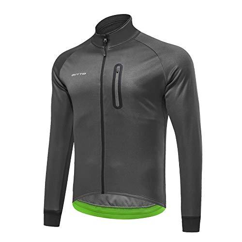 FHKL Winddichtes Warmes Winter-Mountainbike-Oberteil Aus Jersey-Fleece,Gray-L