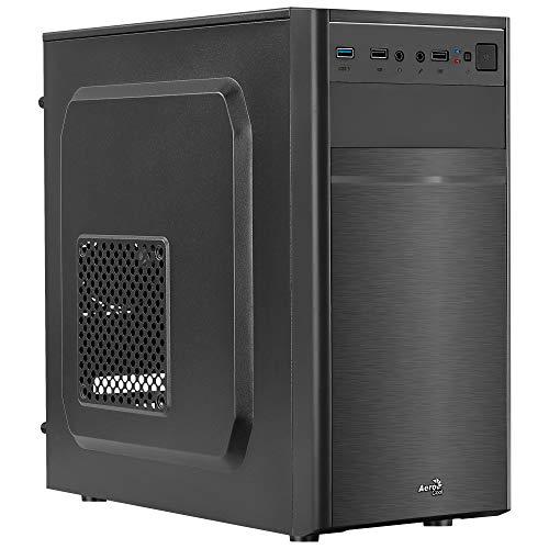 Aerocool CS103, Caja de PC Micro ATX, aluminio pulido, Ventilador Trasero 80 mm, color Negro, Única