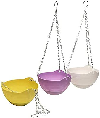 PlantaZee Plastic Pots and Accessories-Hanging Pots with Iron Metail Chain (Pack of 3)
