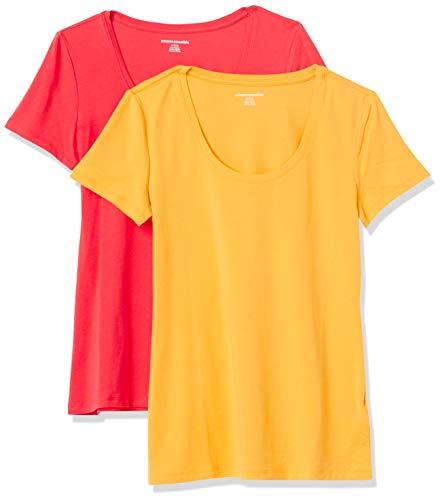 Amazon Essentials Lot de 2 t-Shirts à Manches Courtes et col Rond. Fashion, Hibiscus/Kumquat, 36-38