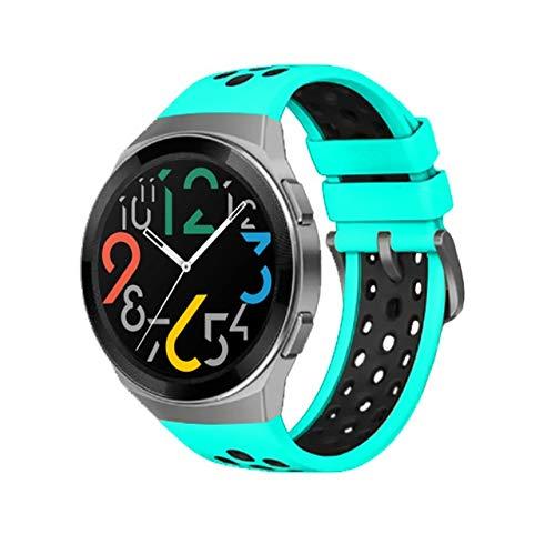 MSFDOG 2021 Nueva Correa de Silicona Oficial de Dos Colores para Huawei Watch GT 2E Dedicated Dediced Edition Watch Band para Watch GT 2e Accessories (Band Color : Mint Black, Size : For GT 2e)