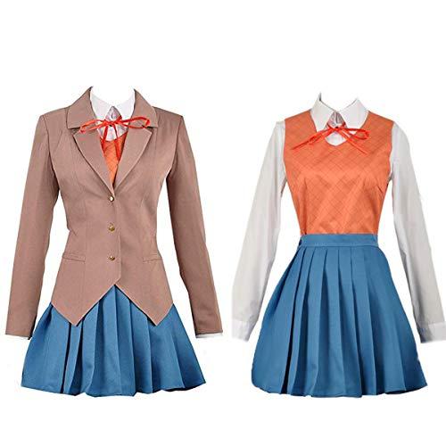 Women Sayori Yuri Natsuki Monika Girl School Uniform DDLC Cosplay Adult Costume + Wig