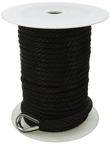 Extreme Max 3006.2048 BoatTector Premium Solid Braid MFP Anchor Line with Thimble, 3/8-Inch x 50-Feet, Black