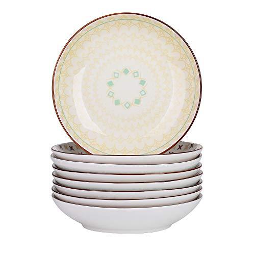 vancasso Tulip Platos Hondos 8 Piezas Vajillas de Porcelana Redondo 21cm 700ML Plato de Sopa Colores -Mandala
