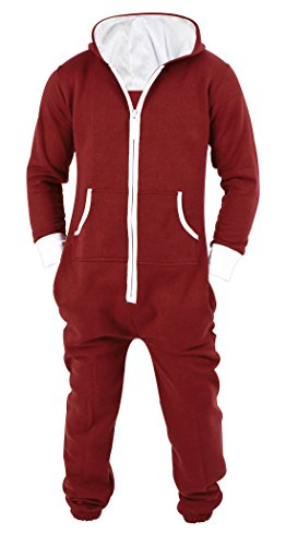 Mens Jumpsuit Non Footed Pajama Unisex One Piece Playsuit Adult Onesie With Hood Large Red