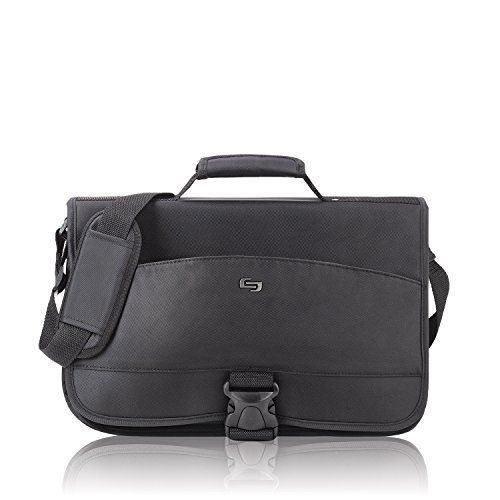 Solo Laptop Messenger Bag for 15.4 inch Nylon Twill with Adjustable Shoulder Strap Black Ref NY10-4