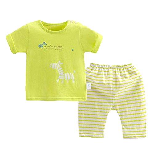 OHmais Bébé Fille garçon Unisexe Grenouillère Ensemble de Pyjama 2 Pieces Coton Jaune Size 80