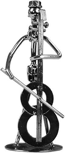 ZHIFENGLIU Desktop-Skulptur-Figuren Office-Skulptur-Ornament Rostfreies Bar-Accessoire-Heim mit Band Iron Men Model Art Play Instrument