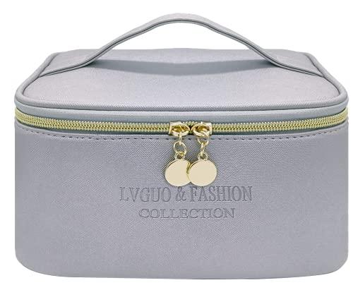 White Ze Borsa per il trucco da viaggio, borsa per il trucco impermeabile, borsa per l'organizzatore di trucco, borsa da toilette , borsa per cosmetici da donna per ragazze (grigio argento)