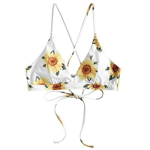 ZAFUL Damen Sonnenblume Crisscross Lace-up Sunflower Bikini Top Gelb-1 L