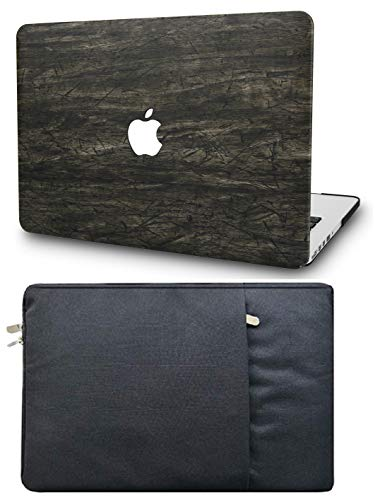 KECC Laptop Case for MacBook Air 13' with Sleeve Italian Leather Case A1466/A1369 2 in 1 Bundle (Brown Wood Leather)