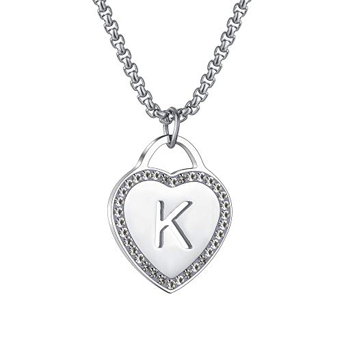 CALIS Women's Silver Initial Necklace Stainless Steel Love Heart Tiny Letter Necklace Personalized Name Jewelry for Girlfriend Gift Alphabet Letter K
