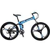 "Eurobike Folding Mountain Bike 21 Speed Full Suspension 26"" Bicycle Disc Brake MTB (Blue)"