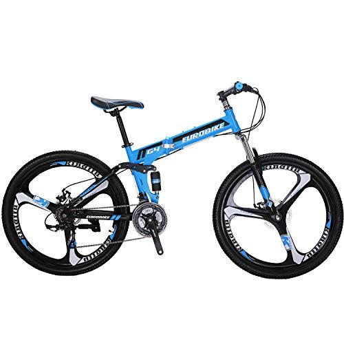 Eurobike Folding Mountain Bike 21 Speed Full Suspension 26' Bicycle Disc Brake MTB (Blue)