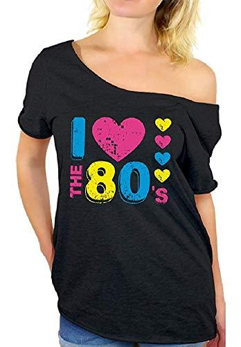 """Smile Fish - Camiseta para mujer de los años 80 con texto """"I Love 80"""", estilo informal, de gran tamaño, para mujer Negro Black1 M"""