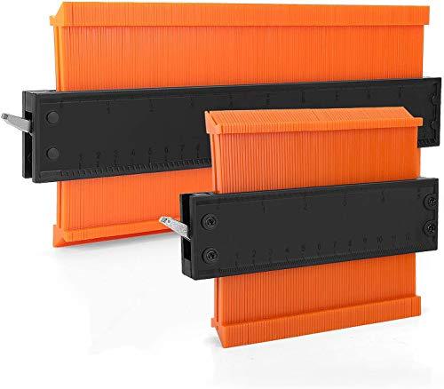 型取りゲージ セルフロック式 コンターゲージ 幅広 高精度 曲線定規 DIY用測定工具 輪郭コピー 不規則な測定器 ABS目盛付き(オレンジ) (120mm+250mm)