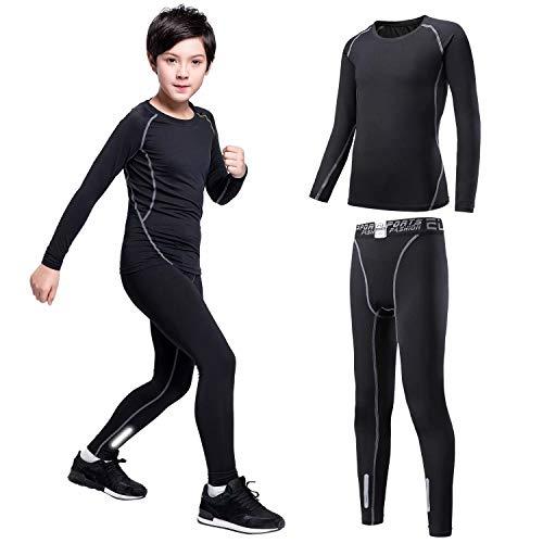 Sillictor - Conjunto de pantalones y camisetas de compresión para niños con capa de base térmica, unisex, transpirable., Infantil, Grey2, Kids L/Tag 140