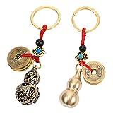 Exceart, 2 campanelle a vento Feng Shui, campane a vento, vintage, drago, campana da appendere, campana per fortuna, casa, giardino, auto, pendenti, benedizione