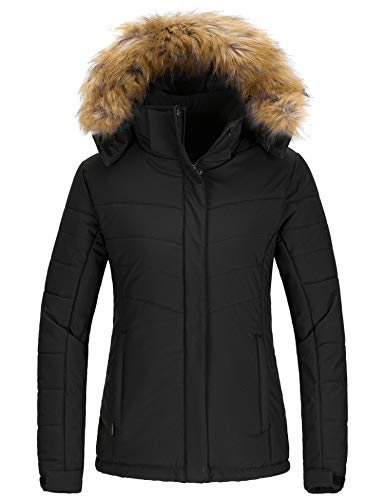 Wantdo Women's Warm Winter Snow Coat Windproof Ski Jacket Outdoor Windbreaker Outwear Black L