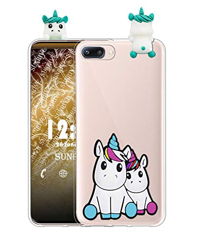 Sunrive Funda para iPhone 5c, Silicona Transparente Funda Slim Fit Gel 3D Carcasa Case Bumper de Impactos y Anti-Arañazos Espalda Cover(W1 Unicornio 2) + 1 x Lápiz óptico