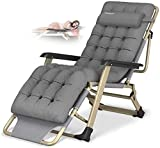 Reclining Chair Folding Zero Gravity Lounge Chair Oversize XL, Deck Chairs Cotton Cushion for Garden Outdoor Patio Sun Loungers Bed Recliner Loading up to 300kg with Head Pillow