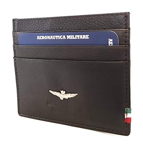 Aeronautica Militare Linea Flag Geldbörse Herren Leder Kreditkartenetui AM 106 Moro 10,2x8,5x1,5 cm