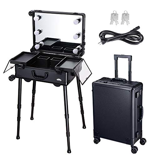 AW Rolling Makeup Case with Mirror Light 22inch Large Cosmetic Storage Luggage Travel Adjustable Leg Extendable Tray